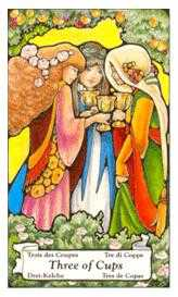 Three of Cups Tarot Card - Hanson Roberts Tarot Deck