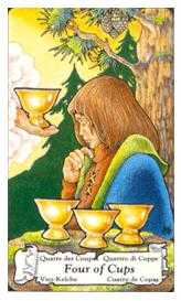 Four of Bowls Tarot Card - Hanson Roberts Tarot Deck