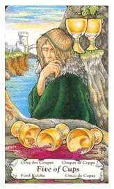 Five of Bowls Tarot Card - Hanson Roberts Tarot Deck
