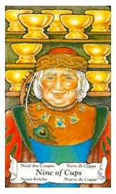 Nine of Bowls Tarot Card - Hanson Roberts Tarot Deck