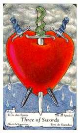 Three of Swords Tarot Card - Hanson Roberts Tarot Deck
