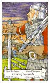 Five of Wind Tarot Card - Hanson Roberts Tarot Deck