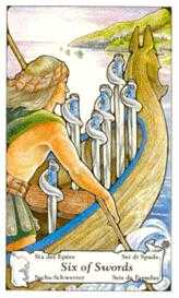 Six of Arrows Tarot Card - Hanson Roberts Tarot Deck