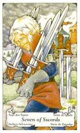 Seven of Arrows Tarot Card - Hanson Roberts Tarot Deck