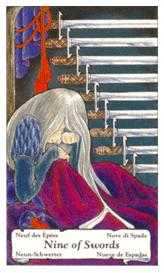 Nine of Arrows Tarot Card - Hanson Roberts Tarot Deck
