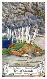 Ten of Arrows Tarot Card - Hanson Roberts Tarot Deck