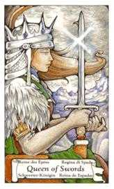 Queen of Arrows Tarot Card - Hanson Roberts Tarot Deck