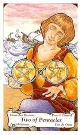 Two of Discs Tarot Card - Hanson Roberts Tarot Deck