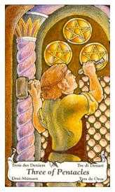 Three of Coins Tarot Card - Hanson Roberts Tarot Deck