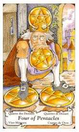 Four of Diamonds Tarot Card - Hanson Roberts Tarot Deck