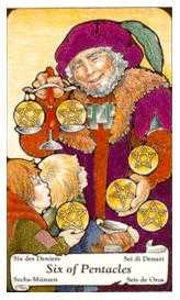 Six of Coins Tarot Card - Hanson Roberts Tarot Deck