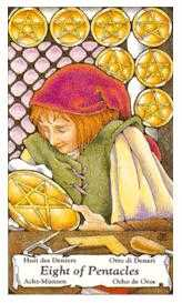Eight of Coins Tarot Card - Hanson Roberts Tarot Deck
