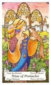 Nine of Coins Tarot Card - Hanson Roberts Tarot Deck