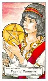 Daughter of Coins Tarot Card - Hanson Roberts Tarot Deck