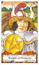 Knight of Coins Tarot Card - Hanson Roberts Tarot Deck