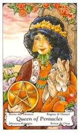 Queen of Coins Tarot Card - Hanson Roberts Tarot Deck