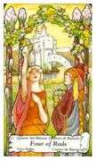 Four of Wands Tarot card in Hanson Roberts Tarot deck