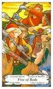 Five of Wands Tarot card in Hanson Roberts Tarot deck