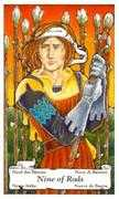 Nine of Wands Tarot card in Hanson Roberts Tarot deck