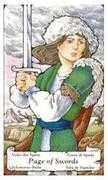 Page of Swords Tarot card in Hanson Roberts Tarot deck