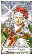 Knight of Swords Tarot card in Hanson Roberts Tarot deck