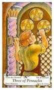 Three of Coins Tarot card in Hanson Roberts Tarot deck