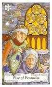 Five of Coins Tarot card in Hanson Roberts Tarot deck