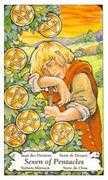 Seven of Coins Tarot card in Hanson Roberts Tarot deck
