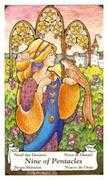 Nine of Coins Tarot card in Hanson Roberts Tarot deck