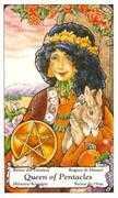 Queen of Coins Tarot card in Hanson Roberts deck