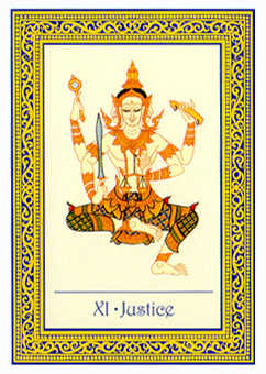 Justice Tarot Card - Royal Thai Tarot Deck
