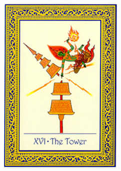 The Falling Tower Tarot Card - Royal Thai Tarot Deck