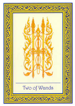 Two of Staves Tarot Card - Royal Thai Tarot Deck