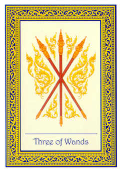 Three of Rods Tarot Card - Royal Thai Tarot Deck