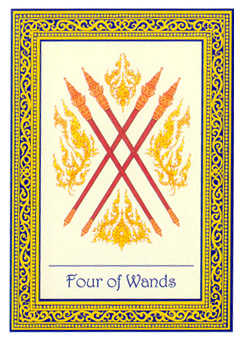 Four of Rods Tarot Card - Royal Thai Tarot Deck