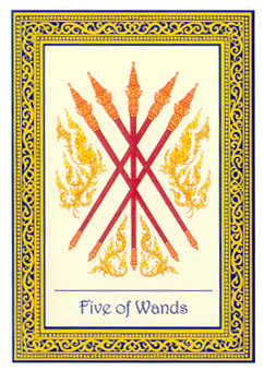 Five of Rods Tarot Card - Royal Thai Tarot Deck