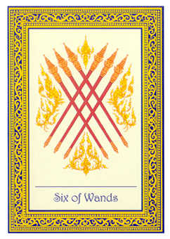 Six of Rods Tarot Card - Royal Thai Tarot Deck