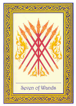 Seven of Rods Tarot Card - Royal Thai Tarot Deck