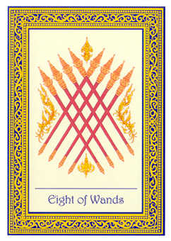 Eight of Rods Tarot Card - Royal Thai Tarot Deck