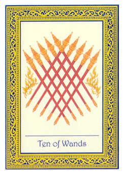 Ten of Rods Tarot Card - Royal Thai Tarot Deck