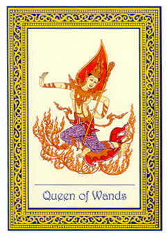 Queen of Staves Tarot Card - Royal Thai Tarot Deck