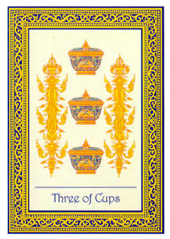Three of Bowls Tarot Card - Royal Thai Tarot Deck