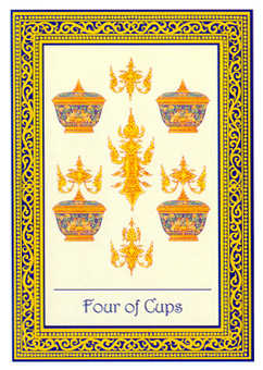 Four of Hearts Tarot Card - Royal Thai Tarot Deck