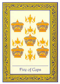 Five of Hearts Tarot Card - Royal Thai Tarot Deck