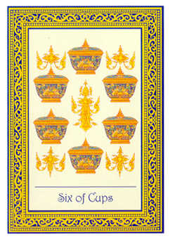 Six of Hearts Tarot Card - Royal Thai Tarot Deck