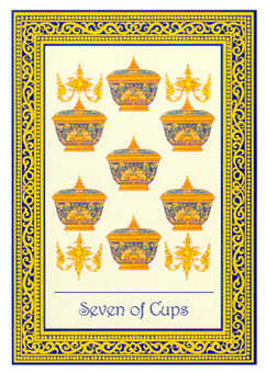 Seven of Hearts Tarot Card - Royal Thai Tarot Deck