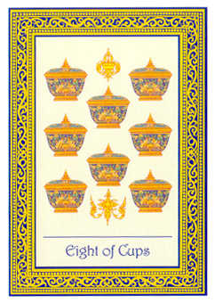 Eight of Bowls Tarot Card - Royal Thai Tarot Deck