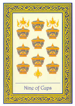 Nine of Hearts Tarot Card - Royal Thai Tarot Deck