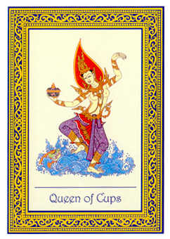Queen of Bowls Tarot Card - Royal Thai Tarot Deck