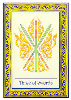 Three of Bats Tarot Card - Royal Thai Tarot Deck